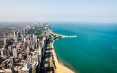 Top View Of Michigan Lakefront And Chicago Skyline With Skyscrapers, Illinois, Usa poster