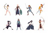 Collection Of Female Warriors From Scandinavian, Greek, Egyptian, Asian Mythology And History. Set O poster