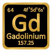 Periodic Table Element Gadolinium Icon On White Background. Vector Illustration. poster