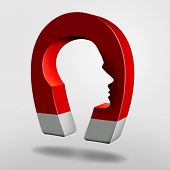 Постер, плакат: Magnet Head As An Attraction Psychology Concept Or Magnetic Personality As An Object With Magnetism