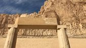 Buildings And Columns Of Ancient Egyptian Megaliths. Ancient Ruins Of Egyptian Buildings poster
