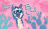 No Drama Llama, Cute Cartoon Llama. Be Cool Motivational And Inspirational Quote. Cute Llama Drawing poster