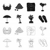 Brazil, Country, Umbrella, Beach . Brazil Country Set Collection Icons In Black, Outline Style Vecto poster