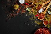 Assorted Spices On Dark Black Background. Seasonings For Food. Curry, Paprika, Pepper, Cardamom, Tur poster