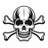Skull With Crossbones Front View Vector Detailed Illustration In Monochrome Vintage Style On White B poster