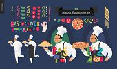 Постер, плакат: Italian Restaurant Set Branding Logo And Menu Constructor Kit Of Restaurant Logo Cooks And Wai