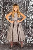 Fashion Model On Silver Background, Beauty. Little Girl In Fashionable Dress, Prom. Child Girl In St poster
