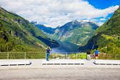 Flydalsjuvet Viewpoint With Geirangerfjord And Geiranger Village Aerial View, Norway poster