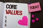 Conceptual Hand Writing Showing Core Values. Business Photo Showcasing Principles Ethics Conceptual  poster