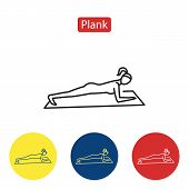 Plank Flat Fit Icons. Girl Doing Plank Exercise For Getting Fit And Slim. Fitness Icons In Colorful  poster