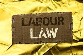 Word Writing Text Labour Law. Business Concept For Employment Rules Worker Rights Obligations Legisl poster