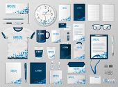 Corporate Branding Identity Template Design. Modern Stationery Mockup Blue Color. Business Style Sta poster