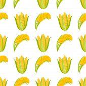 Постер, плакат: Corn Begetable Cobs Vector Illustration Seamless Pattern Healthy Grain Maize Vegetable Cob Corn Ye