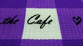 The Cafe Word On Violet Natural Cotton Fabric Waffle Towel Pattern Background.  Violet Modern Square poster
