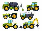 Agricultural Machinery. Colored Pictures In Cartoon Style. Vector Machinery Farm, Equipment Tractor  poster