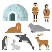 Polar, Arctic Animals And Residents Of The North Near Eskimo Ice House. Igloo House, Penguin And Sib poster
