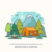 Camp In Forest With Mountains. Tent And Chair, Bivvy And Kettle On Campfire, Outdoor Adventure, Cart poster