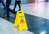 Caution wet floor sign poster