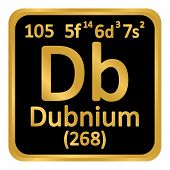 Periodic Table Element Dubnium Icon On White Background. Vector Illustration. poster