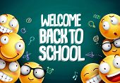 Smileys Back To School Vector Background Design. Yellow Smiley Emoticons With Welcome Back To School poster