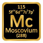 Periodic Table Element Moscovium Icon On White Background. Vector Illustration. poster