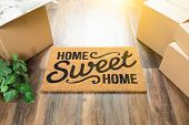 Home Sweet Home Welcome Mat, Moving Boxes and Plant on Hard Wood Floors. poster