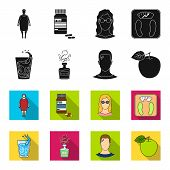 A Glass Of Water, A Bottle Of Alcohol, A Sweating Man, An Apple. Diabeth Set Collection Icons In Bla poster