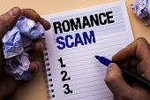 Handwriting Text Romance Scam. Concept Meaning Dating Cheat Love Embarrassed Fraud Cyber Couple Affa poster