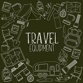 Set Of Travel Equipment. Accessories For Camping And Camps. Line Icons Of Camping And Tourism Equipm poster
