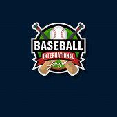 Baseball Emblem Baseball Logo. Baseball Bats And Ball In A Circle With Ribbons. poster