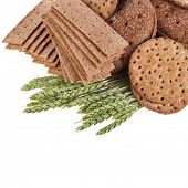pic of wasa bread  - crispbread and wheat ears  isolated - JPG