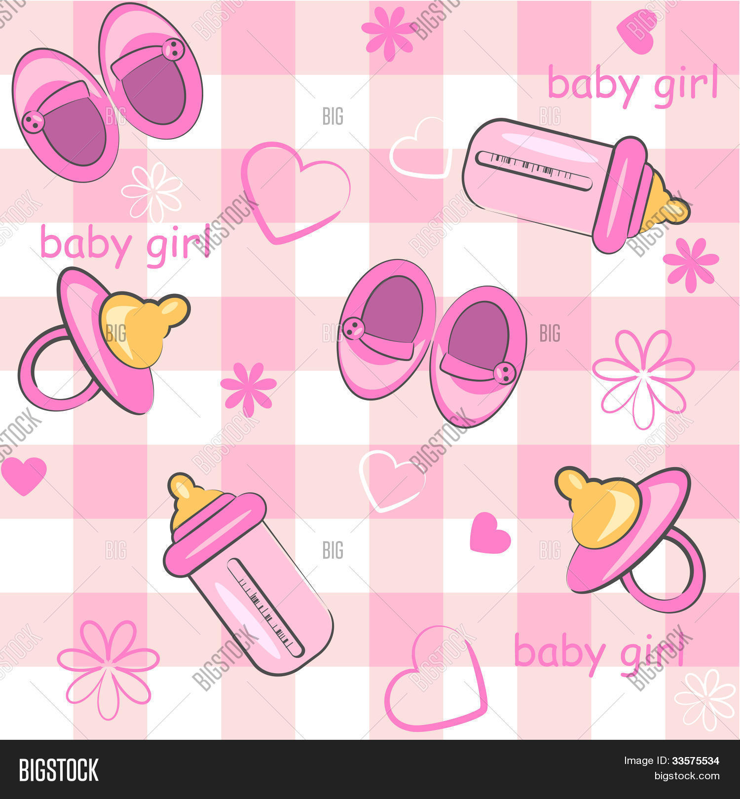 Baby Girl Wrapping Background Vector &