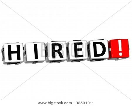 3D Hired Button Click Here Block Text