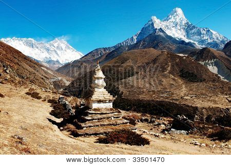 Ama Dablam Lhotse and top of Everest with stupa - Nepal