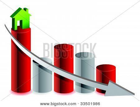 falling house market illustration design over white