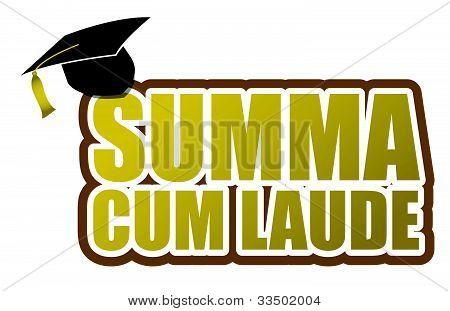 Summa cum laude graduation sign illustration design