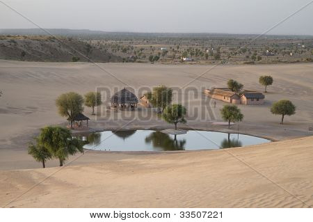 Panoramic view to Khimsar Sand Dunes Village