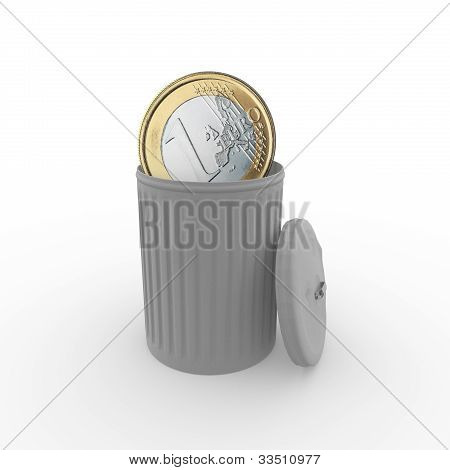 Euro In A Trash Can