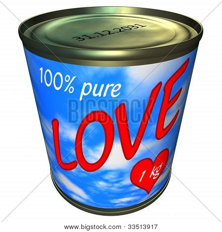 Can Of 100 Percent Pure Love 1 Kg