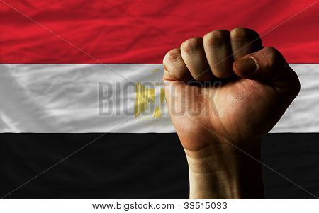 Hard Fist In Front Of Egypt Flag Symbolizing Power