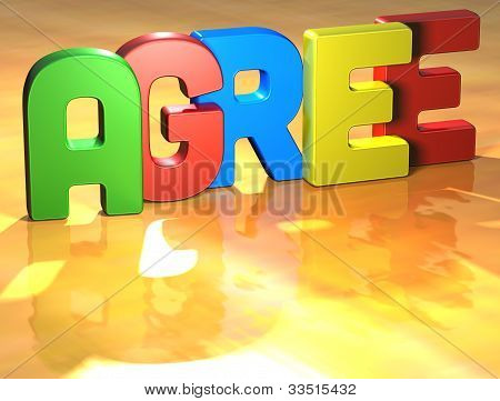 Word Agree On Yellow Background