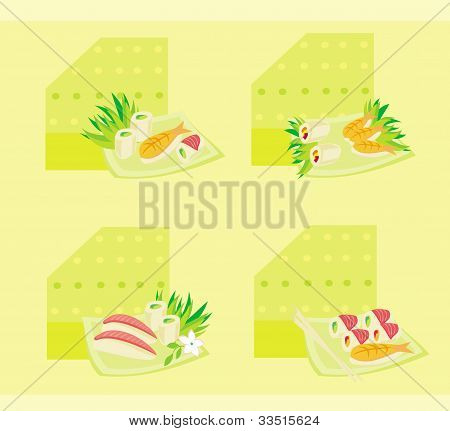 vector illustration of sushi set