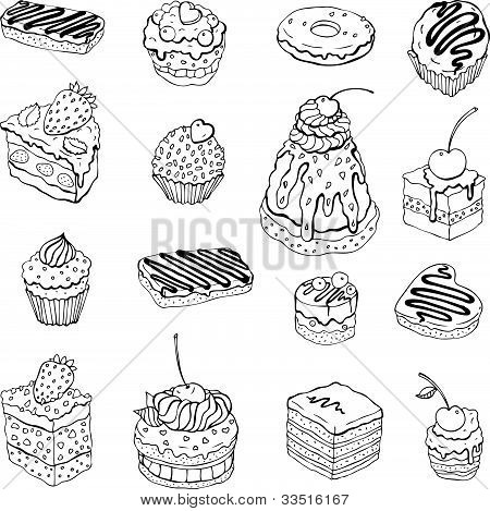 Set of cute cake. Contour illustration