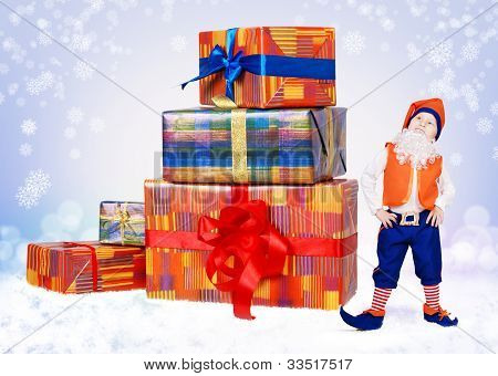 Little Christmas Elf With Big Gift Boxes