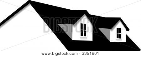 House Abstract Home Roof Element With 2 Dormer Windows.Eps