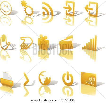 Web Gold Icons Shadows & Relections On White Angled Set 2.Eps