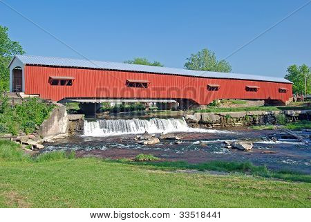 Covered Bridge In Rural Indiana