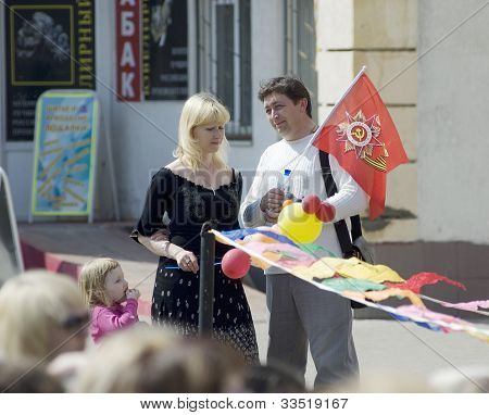 Man And Wife On A Victory Day Performance