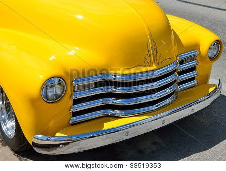 Bright Yellow Customized Pickup Truck