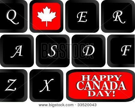 Computer Keyboard With The Canadian Flag On It